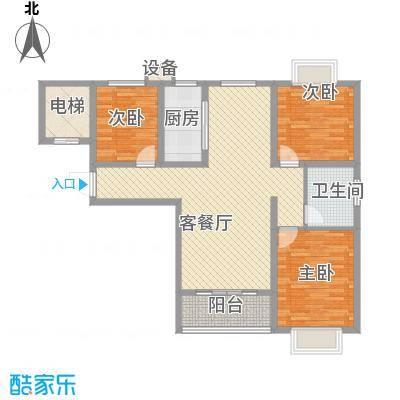 畅博书香东郡114.00㎡E户型3室2厅1卫1厨
