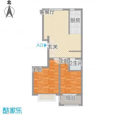 润东花园8.20㎡4号楼标准层C4户型2室2厅1卫1厨