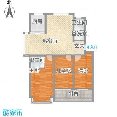 裕昌・水岸新城135.00㎡1期6#楼-19#标准层D户型3室2厅1卫1厨
