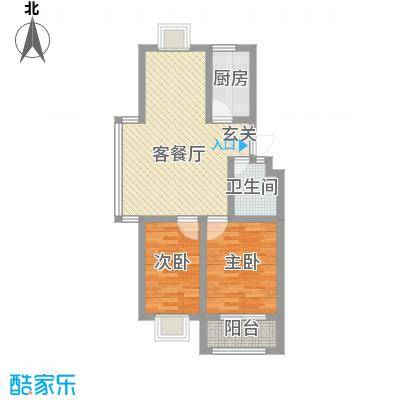 裕昌・水岸新城8.00㎡四期标准层户型2室2厅1卫1厨