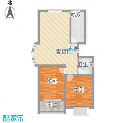 润东花园1.87㎡4号楼标准层E2户型2室2厅1卫1厨