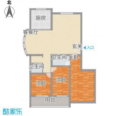 润东花园137.71㎡3号楼标准层F户型3室2厅2卫1厨