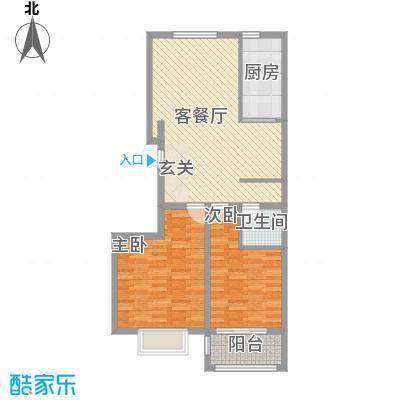 润东花园4.45㎡1号楼标准层C1户型2室2厅1卫1厨