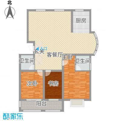 润东花园147.48㎡1号楼标准层B户型3室2厅2卫1厨
