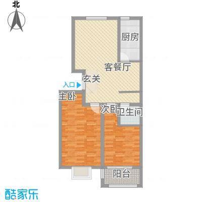 润东花园4.48㎡4号楼标准层D2户型2室2厅1卫1厨