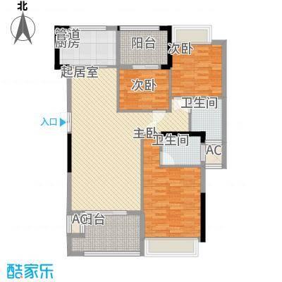 融耀江滨御景122.00㎡5#6#楼A1户型3室2厅2卫1厨