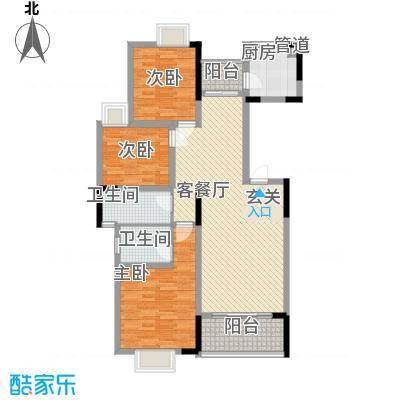 龙鑫华城二期124.70㎡6#C1户型3室2厅2卫1厨
