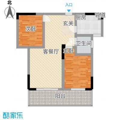龙鑫华城二期8.35㎡9#B2户型2室2厅1卫1厨