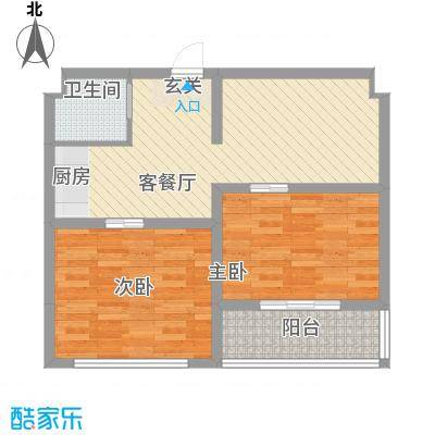 井冈江山65.00㎡三户型2室2厅1卫1厨