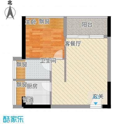 御景江山56.80㎡1#户型2室2厅1卫1厨