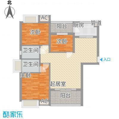东方红广场16.00㎡A1户型3室1厅2卫1厨