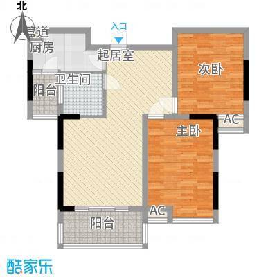 春江花月5.38㎡E户型2室2厅1卫1厨