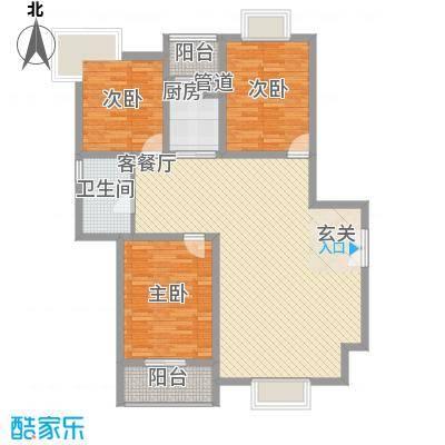 龙门山庄136.00㎡E6B户型3室2厅1卫1厨
