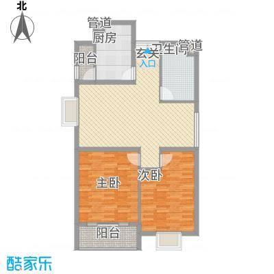 龙门山庄112.00㎡E6A户型2室2厅1卫1厨