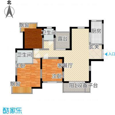 凤凰星城136.00㎡G1户型3室2厅2卫
