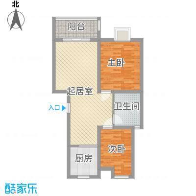 美麟・海韵天城86.00㎡B1户型2室2厅1卫1厨