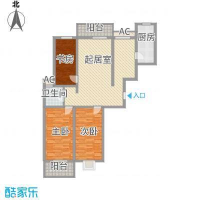 国大・国际花园145.56㎡17#楼2户型3室2厅1卫1厨