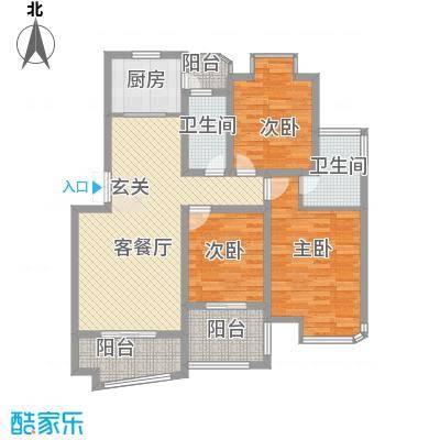 黄浦・银都城户型3室2厅2卫