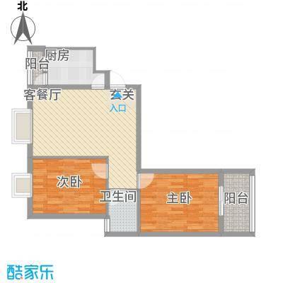 江天花园84.67㎡D1户型2室1厅1卫