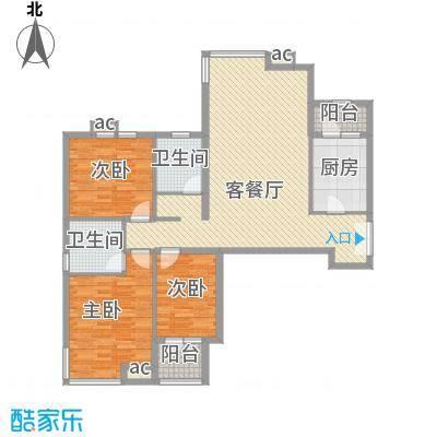 君悦财富广场14.00㎡A1户型3室2厅2卫1厨