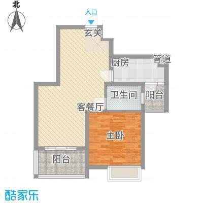 建院未来城77.46㎡C座F户型1室2厅1卫1厨