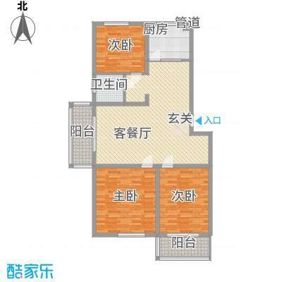 香江花园121.67㎡C2户型3室2厅1卫1厨