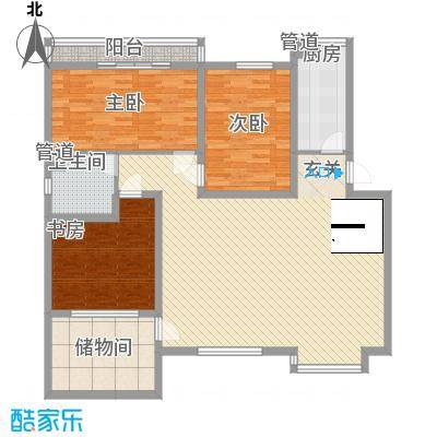 一品苑124.54㎡N户型3室2厅1卫1厨