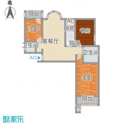 金鼎海云湾125.60㎡1号户型3室2厅1卫1厨
