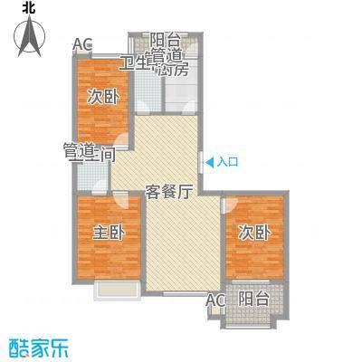 枫丹白露138.68㎡一期8号楼标准层B户型3室2厅2卫1厨