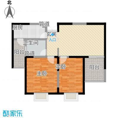 洋河梦都花园2.10㎡B2户型2室2厅2卫1厨