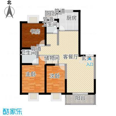 洋河梦都花园137.26㎡D2户型3室2厅2卫1厨