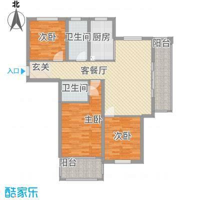 华夏丽景125.00㎡户型3室2厅2卫1厨
