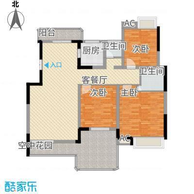 学府港湾13.71㎡B-1户型3室2厅2卫1厨