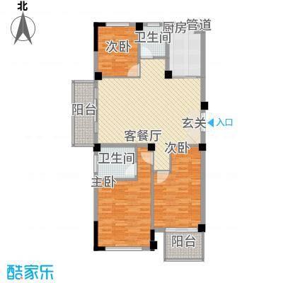 东方不夜城123.00㎡11#08户型3室2厅2卫1厨