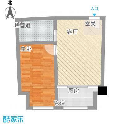 海富・城市印象55.00㎡E户型1室1厅1卫
