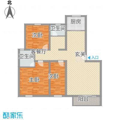 书香苑小区C3户型3室2厅2卫1厨