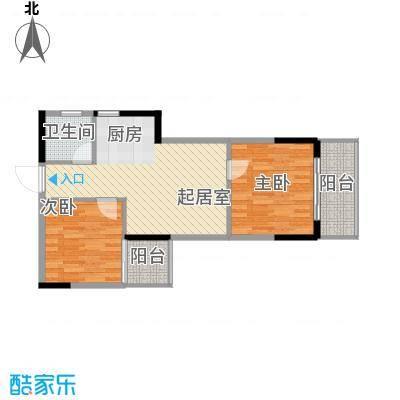 桂林独秀苑66.80㎡8栋E户型2室1厅1卫1厨