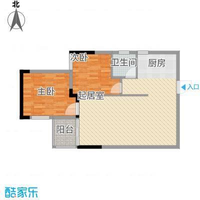 桂林独秀苑81.51㎡8栋B户型2室2厅2卫1厨