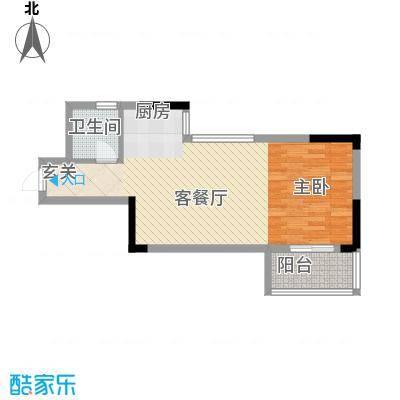 桂林独秀苑54.10㎡2栋E户型1室1厅1卫1厨