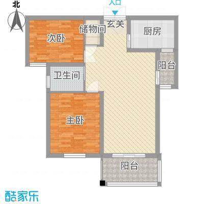 弘达名筑1.50㎡B户型2室2厅1卫1厨