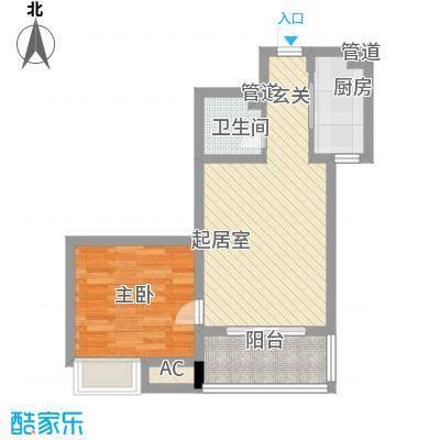 名仕公馆64.15㎡一居户型1室1厅1卫1厨