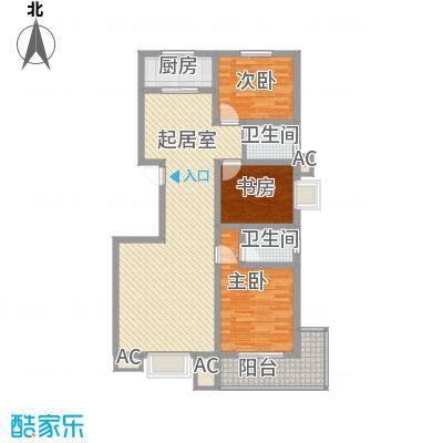 枫景华庭122.00㎡十号楼M户型3室2厅2卫1厨
