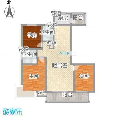 枫景华庭135.16㎡D户型3室2厅2卫1厨