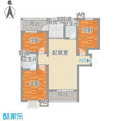 枫景华庭121.31㎡H户型3室2厅2卫1厨