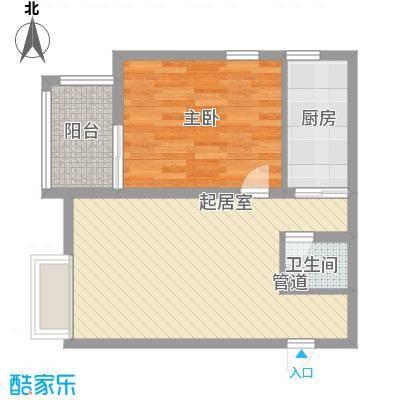 名仕公馆65.24㎡E户型1室1厅1卫1厨
