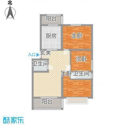 江泉・富力城126.50㎡B户型3室2厅2卫