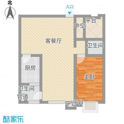 宝龙花园83.00㎡7#-D户型1室2厅1卫1厨