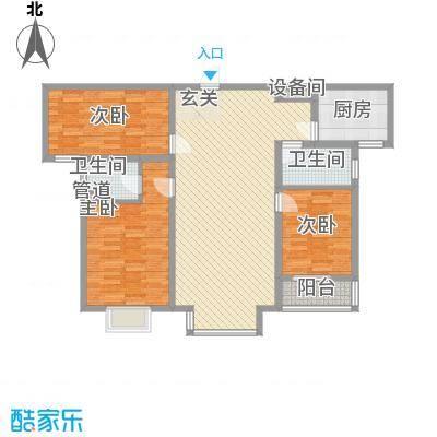 水岸名都二期13.55㎡1#F户型3室2厅2卫