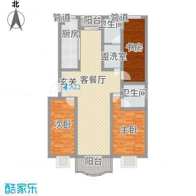 南国风光128.00㎡标准层A户型3室2厅1卫1厨