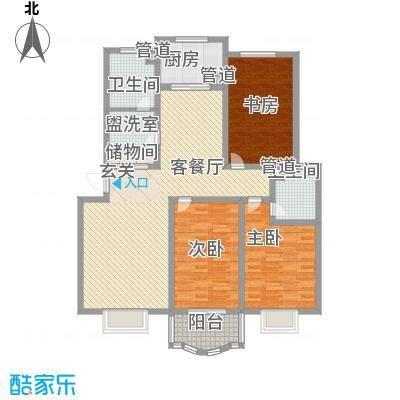 南国风光153.00㎡标准层D户型3室2厅2卫1厨